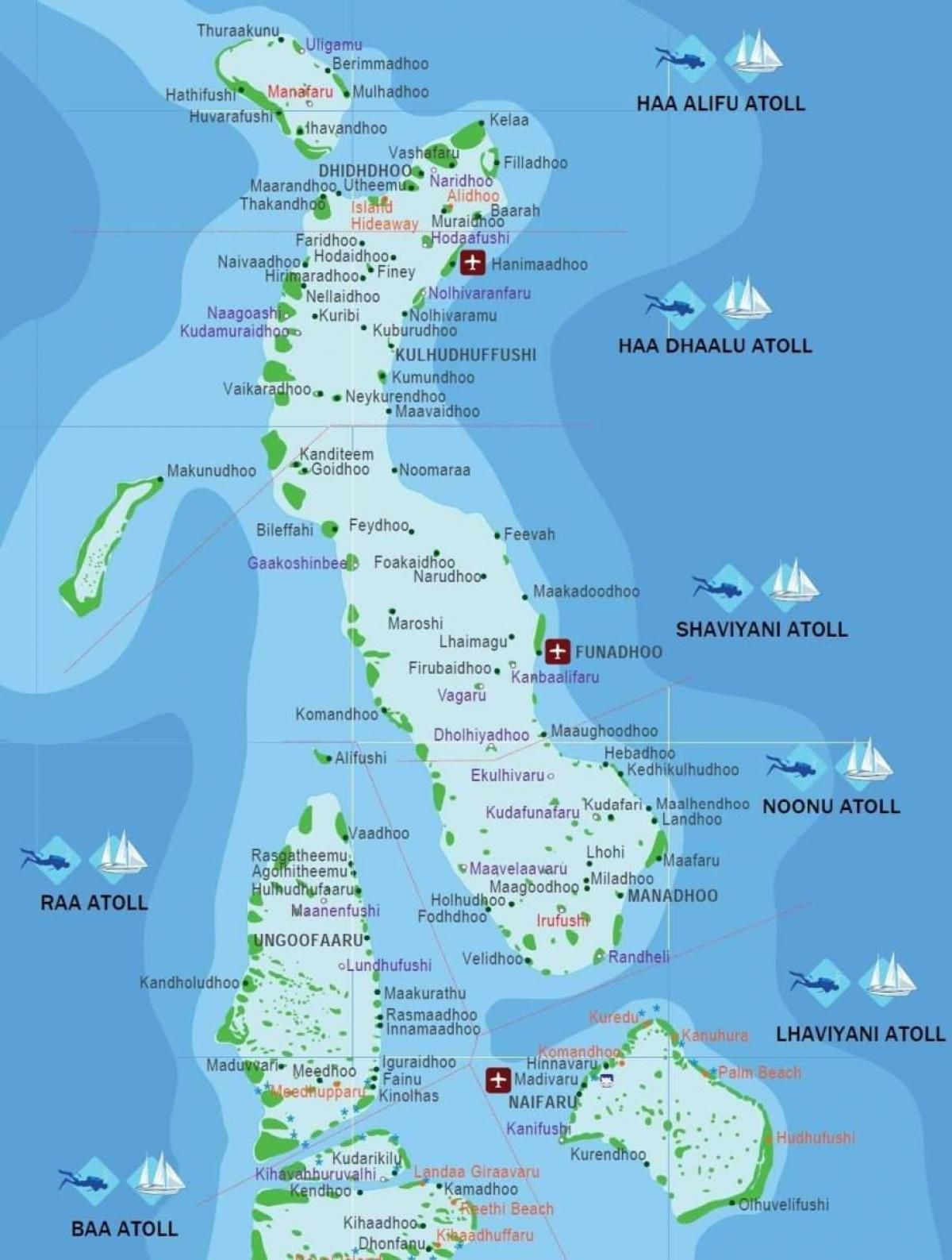 map of maldives beach