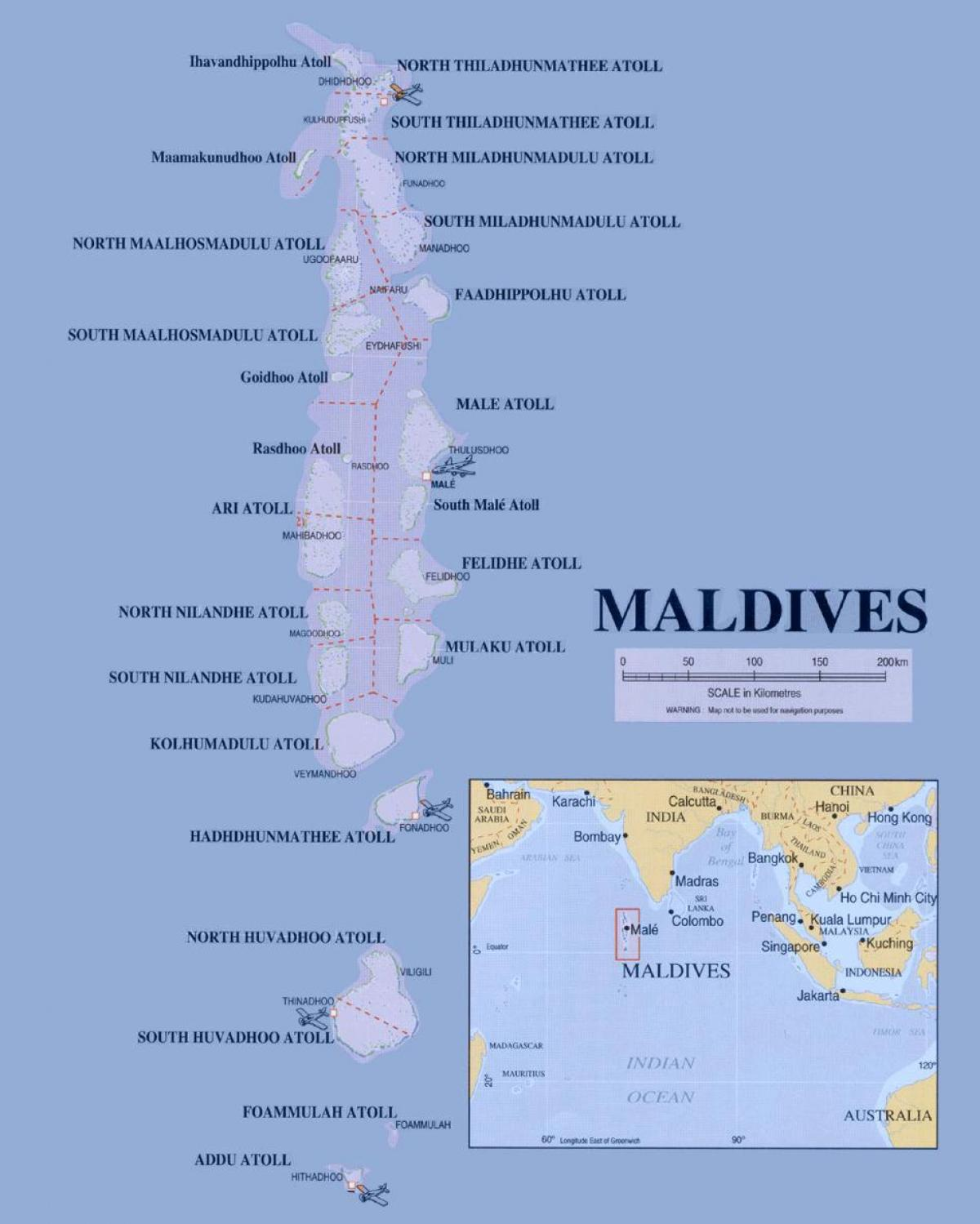 map showing maldives
